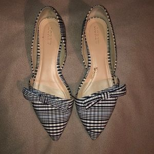EUC J.Crew Sloan Plaid D'Orsay Flats with Bow